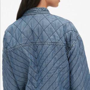 Gap Quilted Zip Cropped Denim Jean Jacket